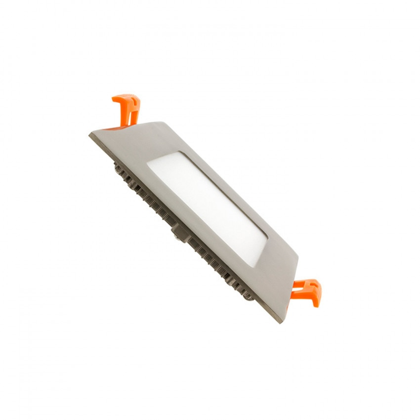 Placa LED Quadrada SuperSlim 6W Prata Corte 105x105mm