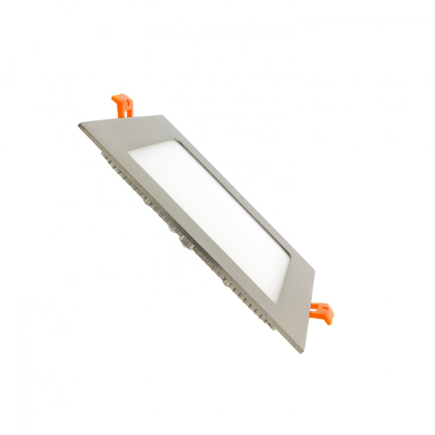 Placa LED Quadrada SuperSlim 12W Prata Corte 155x155 mm