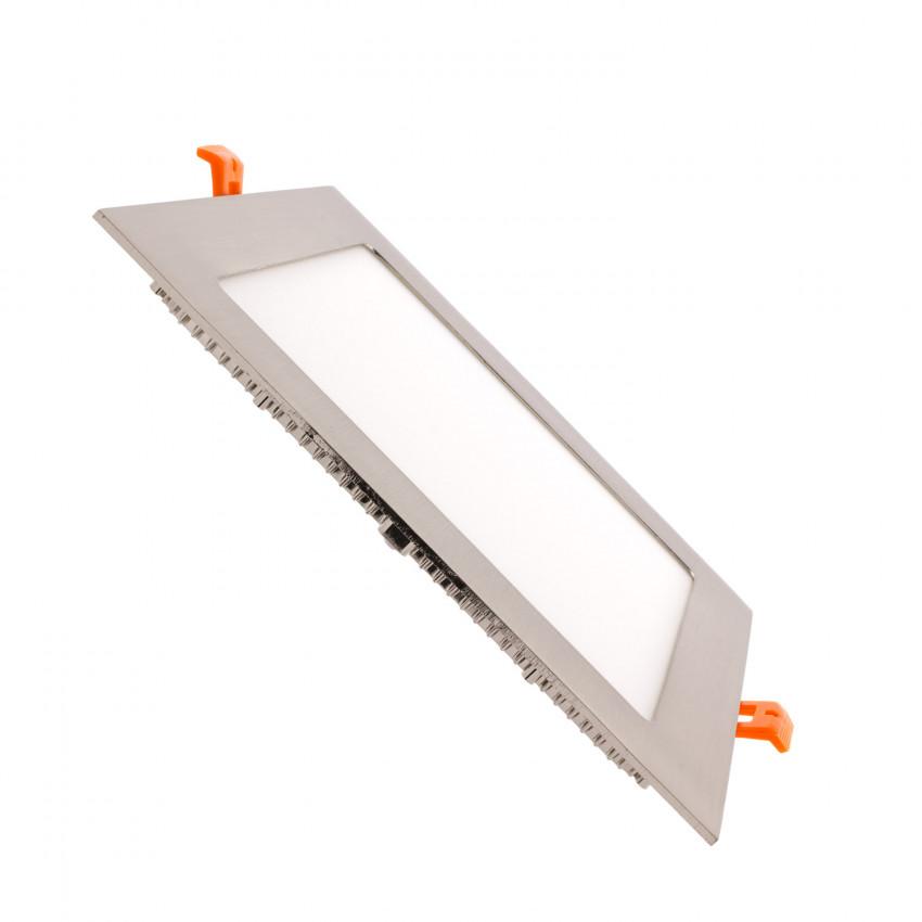Placa LED Quadrada SuperSlim 18W moldura Prata