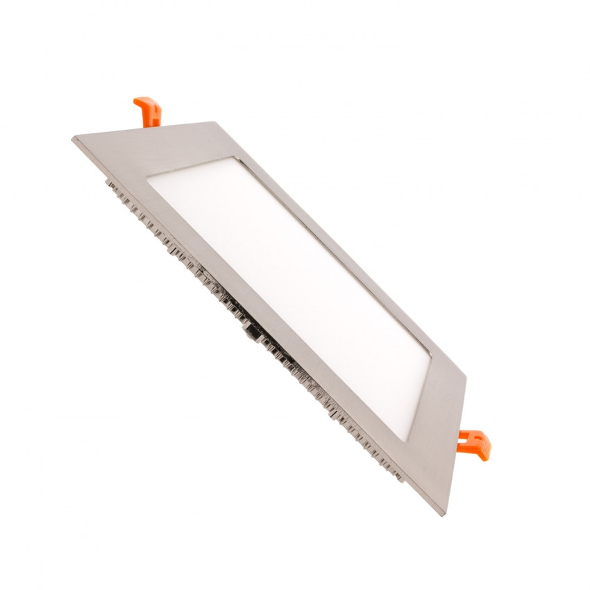 Placa LED Quadrada SuperSlim 18W Silver Corte 205x205 mm