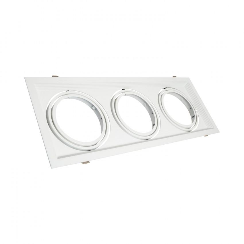 Aro Downlight Quadrado Basculante Aluminio para três Lâmpadas LED AR111 160x460 mm