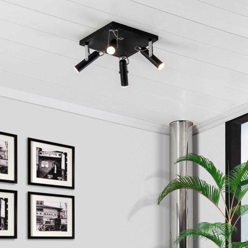 Lámpara de Techo LED Orientable Bari 4 Focos 16W Negro