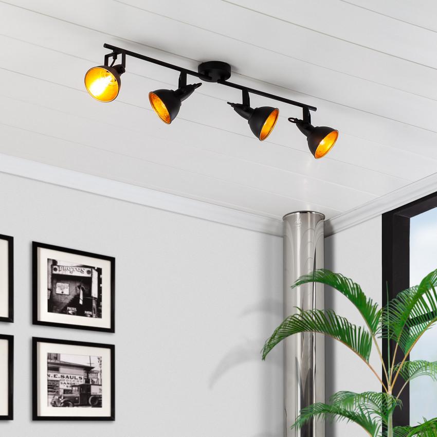 Lámpara de Techo Orientable Emer 4 Focos Negro