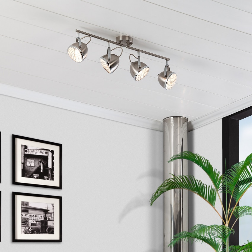Lámpara de Techo Orientable Izga 4 Focos Plata