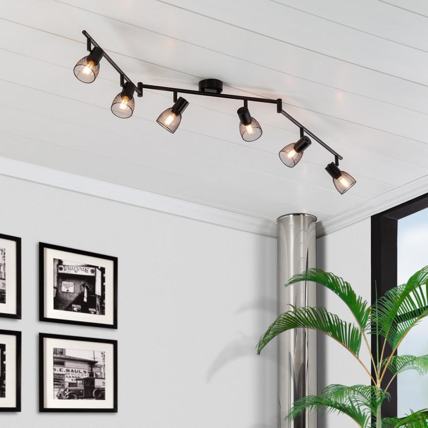 Lámpara de Techo Orientable Grid 6 Focos Negro