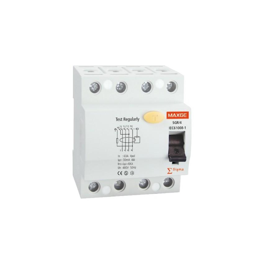 Interruptor Diferencial Industrial MAXGE 4P-30mA-Classe AC-10kA Super-Imunizado
