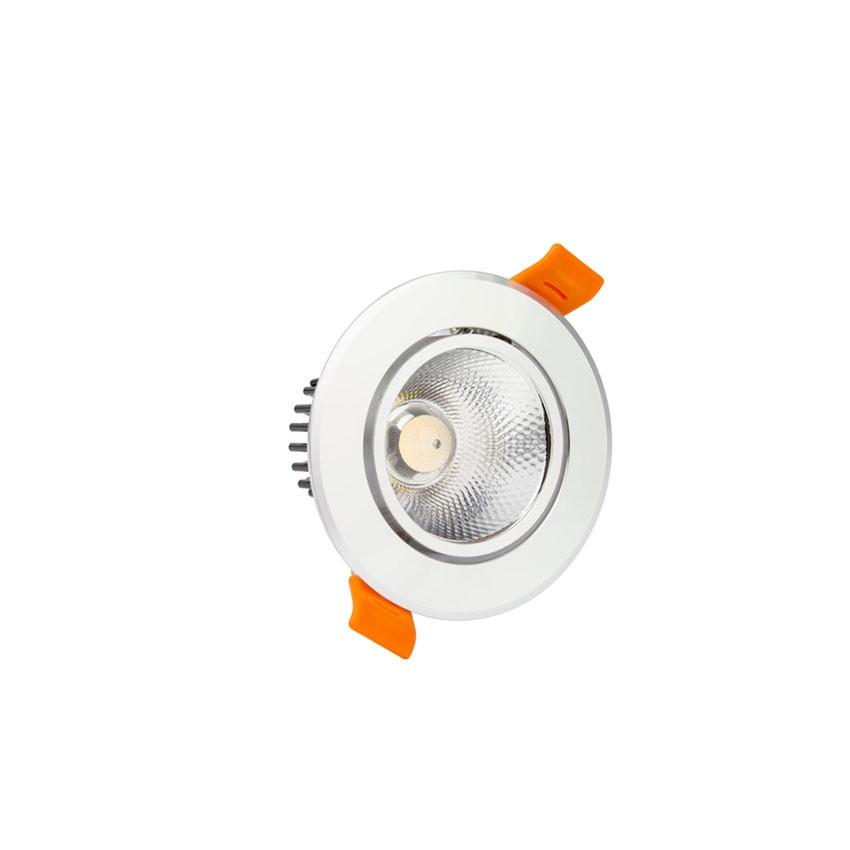 Foco Downlight LED 3W COB Direccionable Circular (URG19) Plata Corte Ø 55 mm CRI92 Expert Color