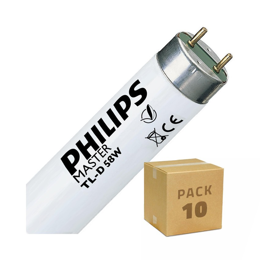 Pack Tubo Fluorescente Regulable PHILIPS T8 1500mm Conexión dos Laterales 58W (10 un)