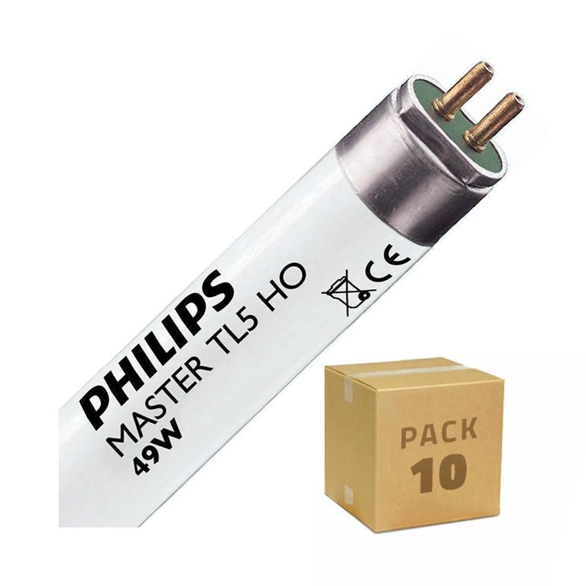 Pack Tubo Fluorescente Regulable PHILIPS T5 HO 1450mm Conexión dos Laterales 49W (10 un)