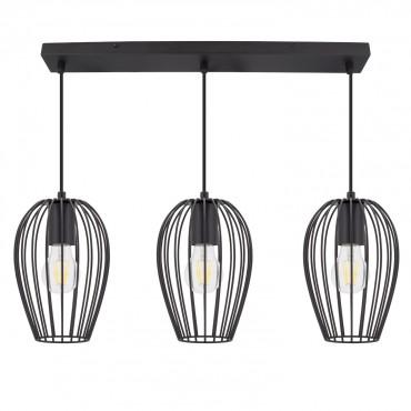 3 Lámpara Colgante Focos Negro Telmi nw0PkO