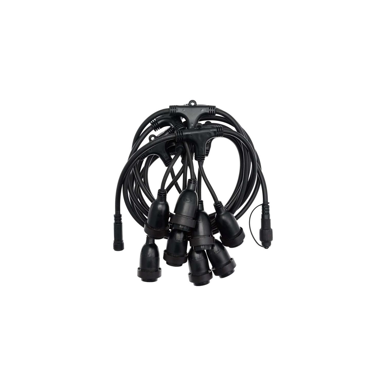 Kit Grinalda Waterproof 5.5m Preto + 8 Lâmpadas LED E27 Filamento 4W
