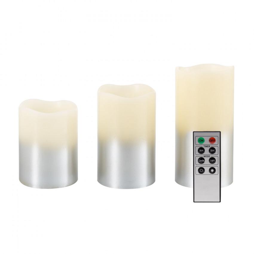 Pack de 3 Velas LED Cera Natural Silver com Comando á Distância