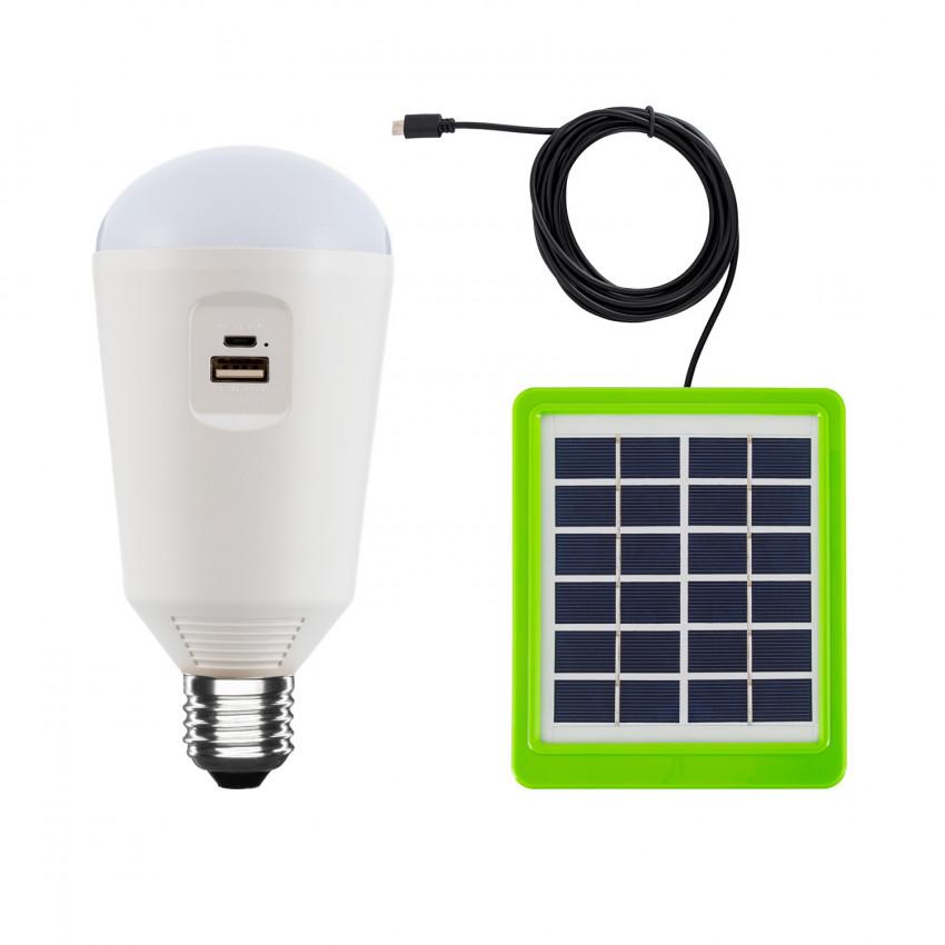 Bombilla LED E27 Portátil con Cargador Solar 7W