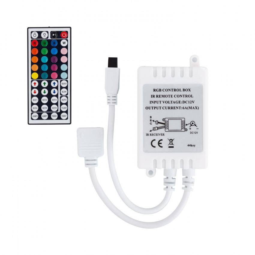 Comando Fita LED RGB 12V,  Dimmer por Controle Remoto IR 44 Botões