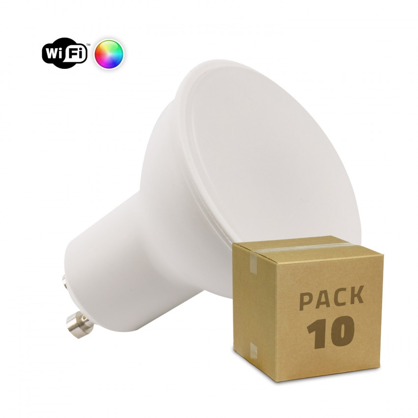 Pack 10 Bombillas LED RGBW Smart WiFi GU10 Regulable 4W