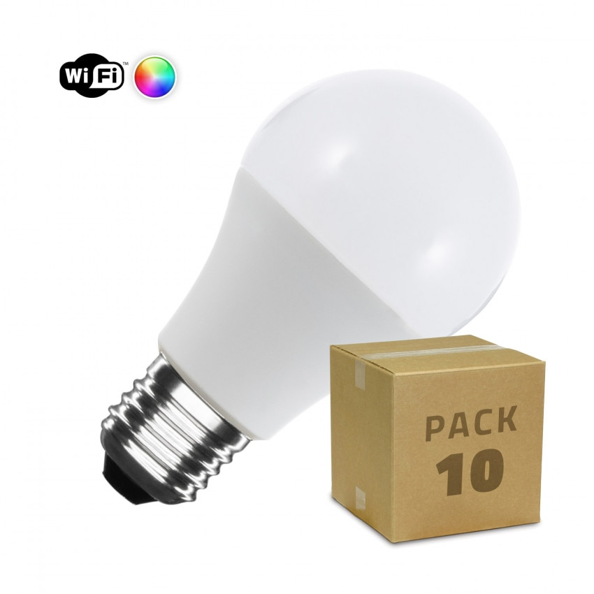 Pack 10 Lâmpadas LED WiFi TUYA E27 A60 Regulável RGBW 10W