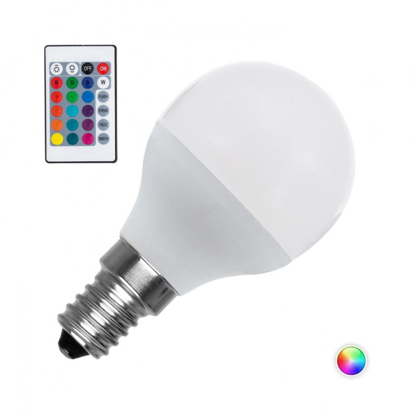 Bombilla LED E14 RGBW Regulable G45 4.5W