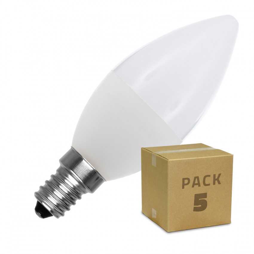 Pack 5 Bombillas LED E14 C37 5W
