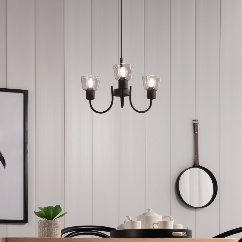 Lámpara Colgante Design Tivo 3 Focos Negro
