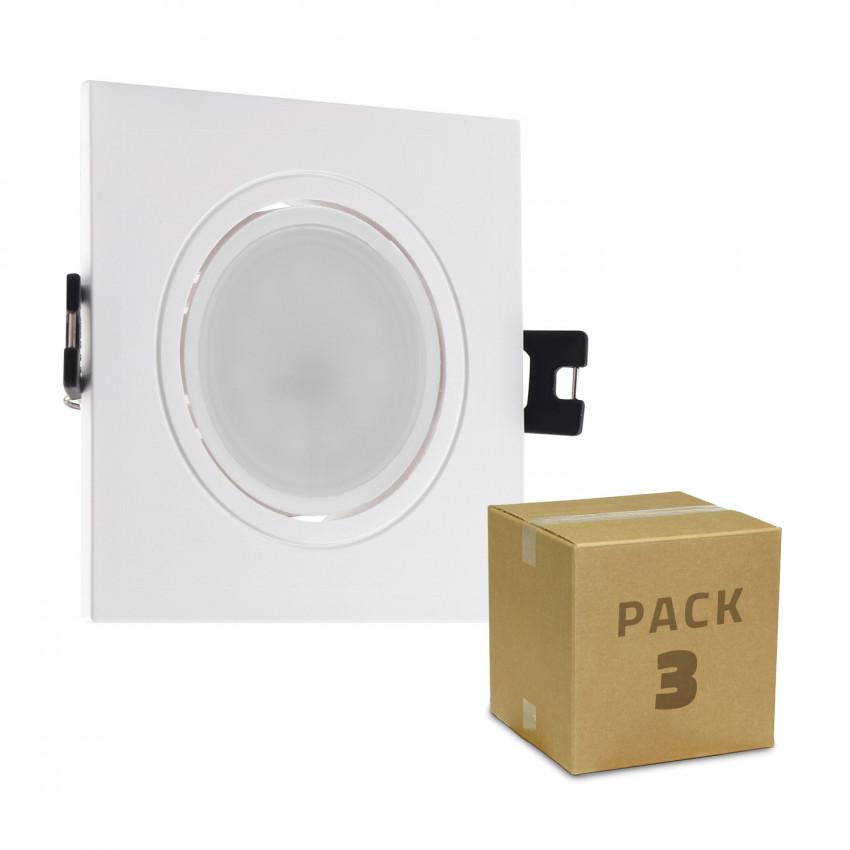Pack 3 Focos Downlight GU10 6W Corte Ø 75-85 mm