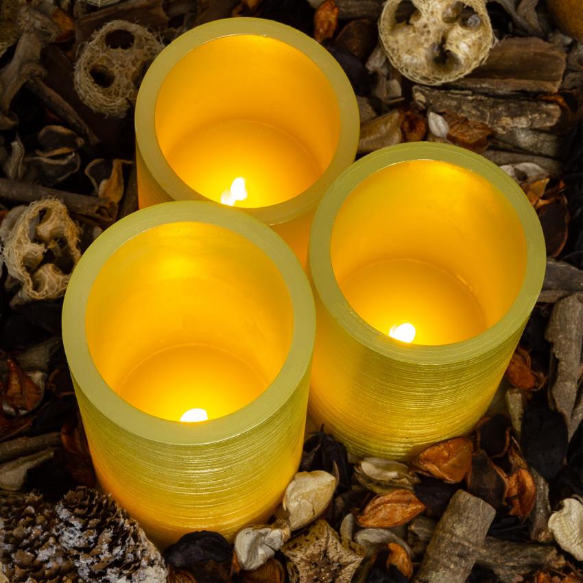 Pack de 3 Velas LED Cera Natural Special Flame Dourado