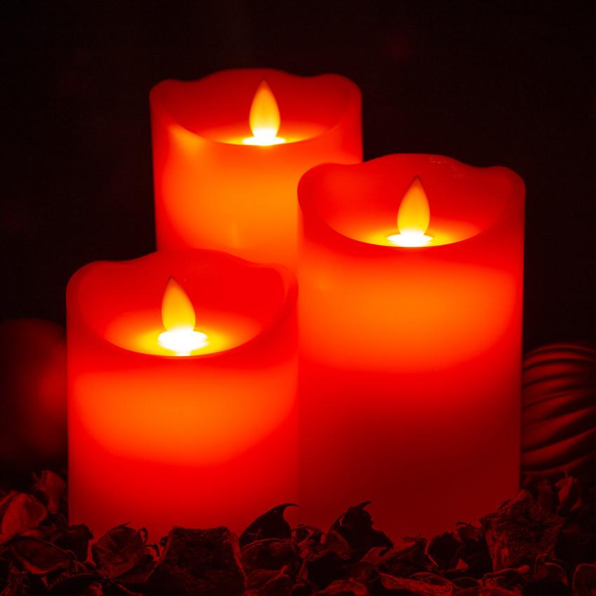 Pack de 3 Velas LED Cera Natural Special Flame Rojo