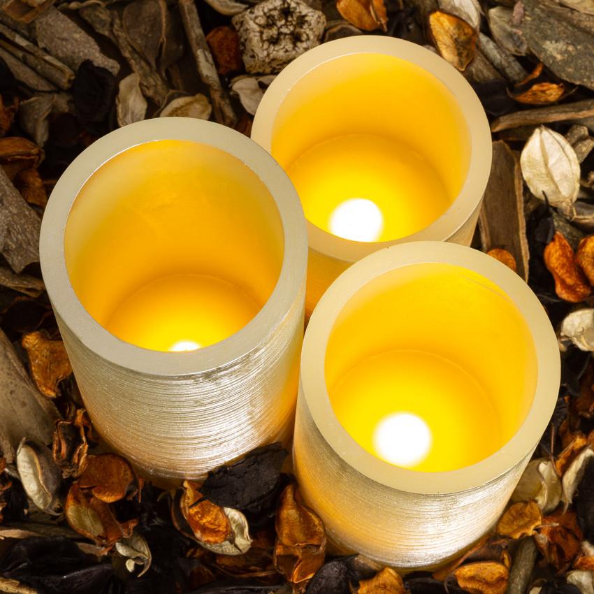 Pack de 3 Velas LED Cera Natural Special Flame Plata