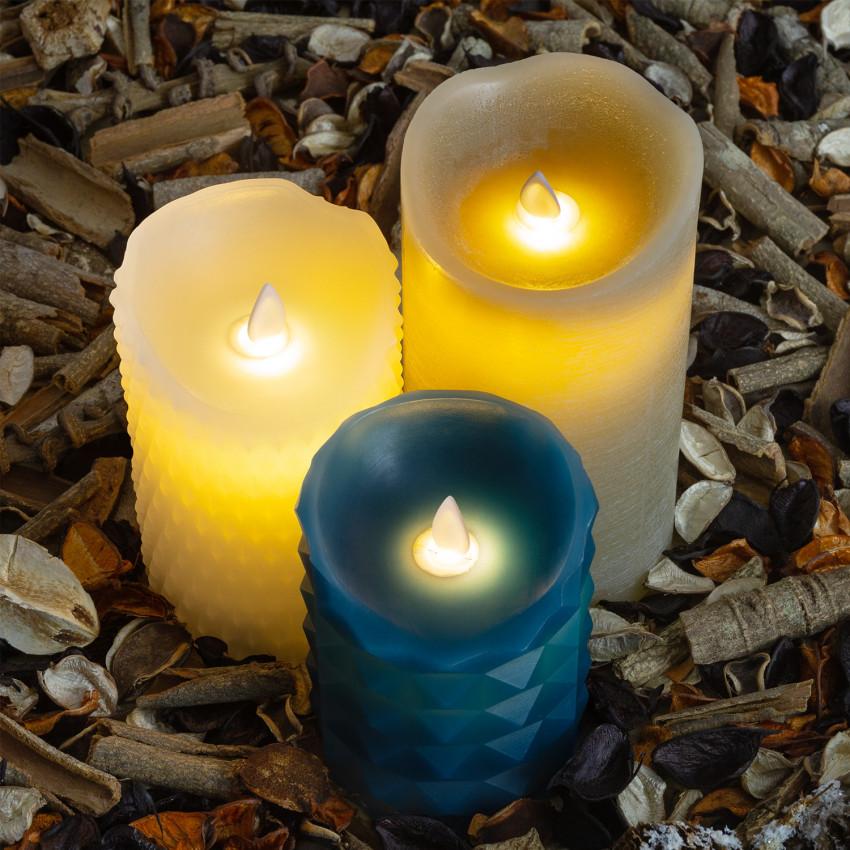 Pack de 3 Velas LED Cera Natural Special Flame Mix