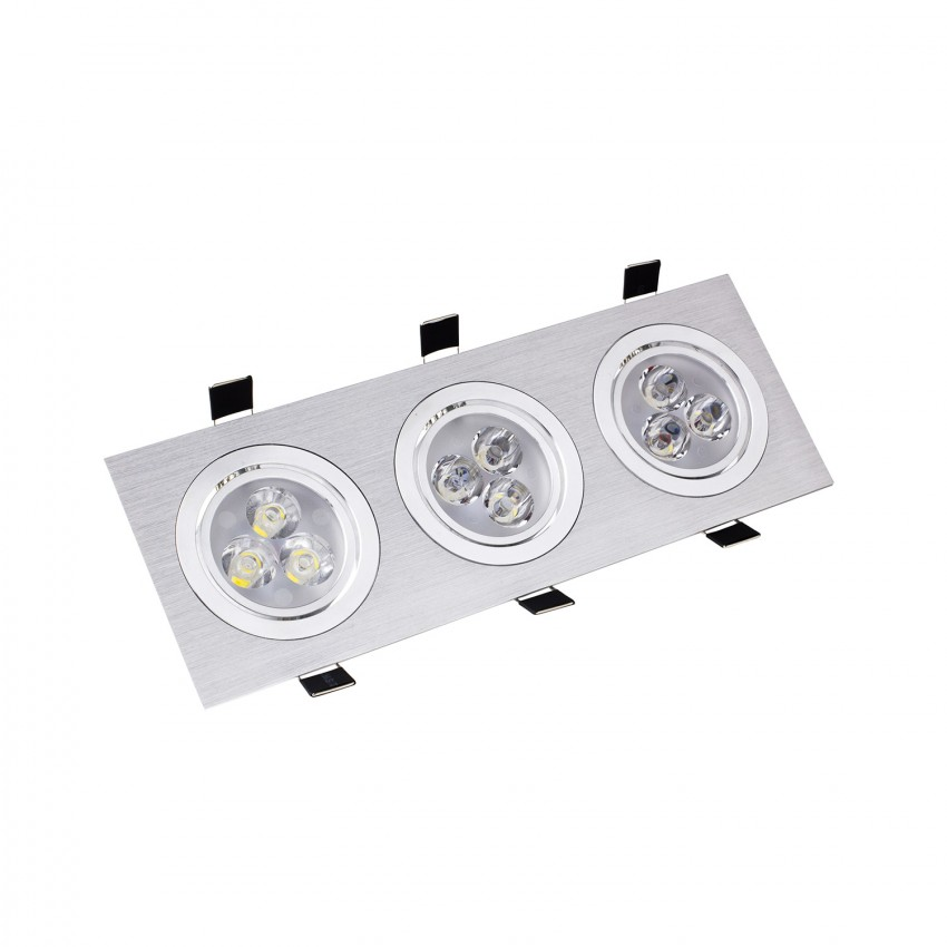 Foco Downlight LED Direccionável Retangular 3x3x1W Corte 240x75mm