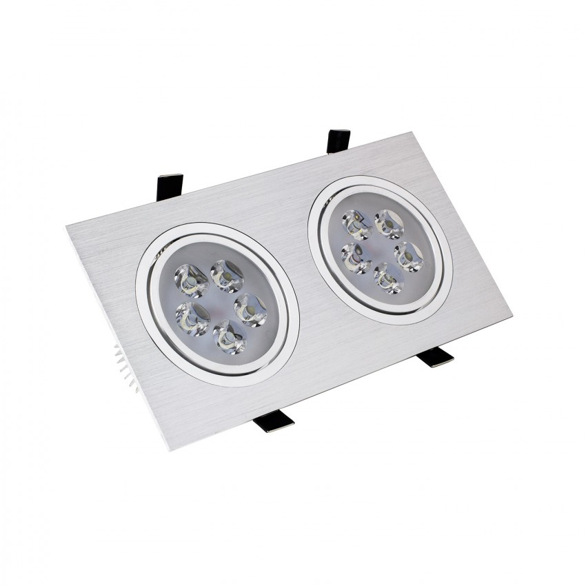 Foco Downlight LED Direccionable Rectangular 2x5x1W Corte 2xØ 90 mm