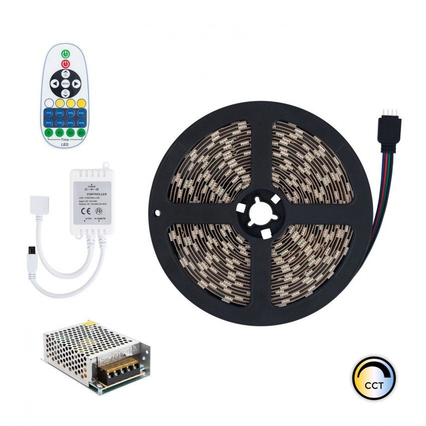 Kit Tira LED 12V DC 60LED/m 5m CCT Seleccionable IP20 con Fuente de Alimentación y Controlador