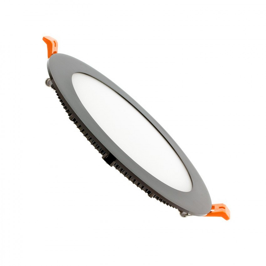 Placa LED Circular SuperSlim 12W Black Corte Ø 155mm