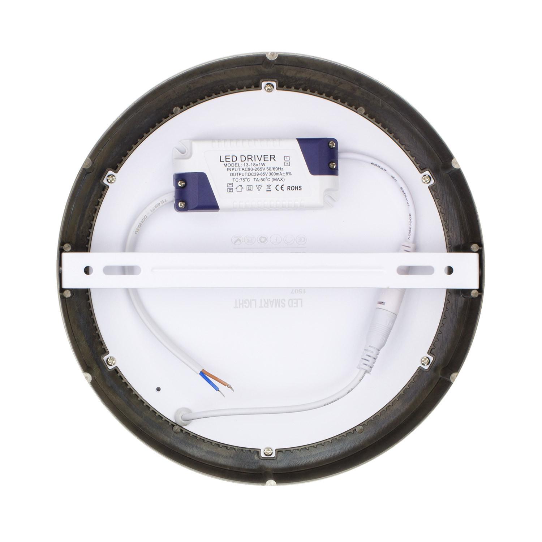 Placa Superfície LED Circular 18W Moldura Prata