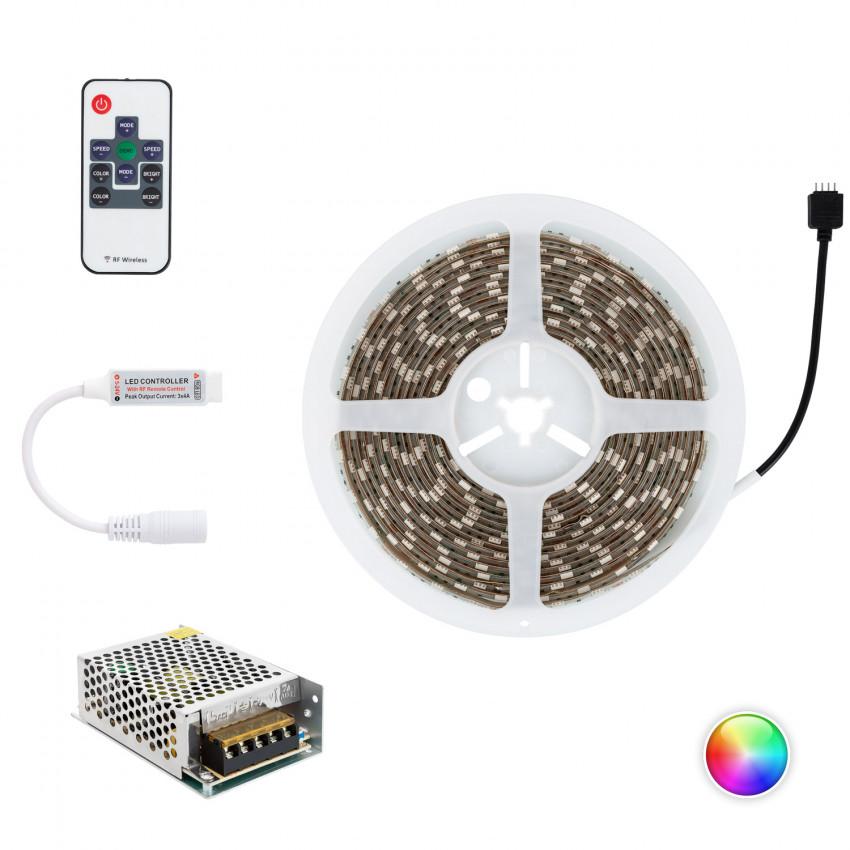 Kit Tira LED RGB 12V DC 60LED/m 5m IP65 con Fuente de Alimentación y Controlador