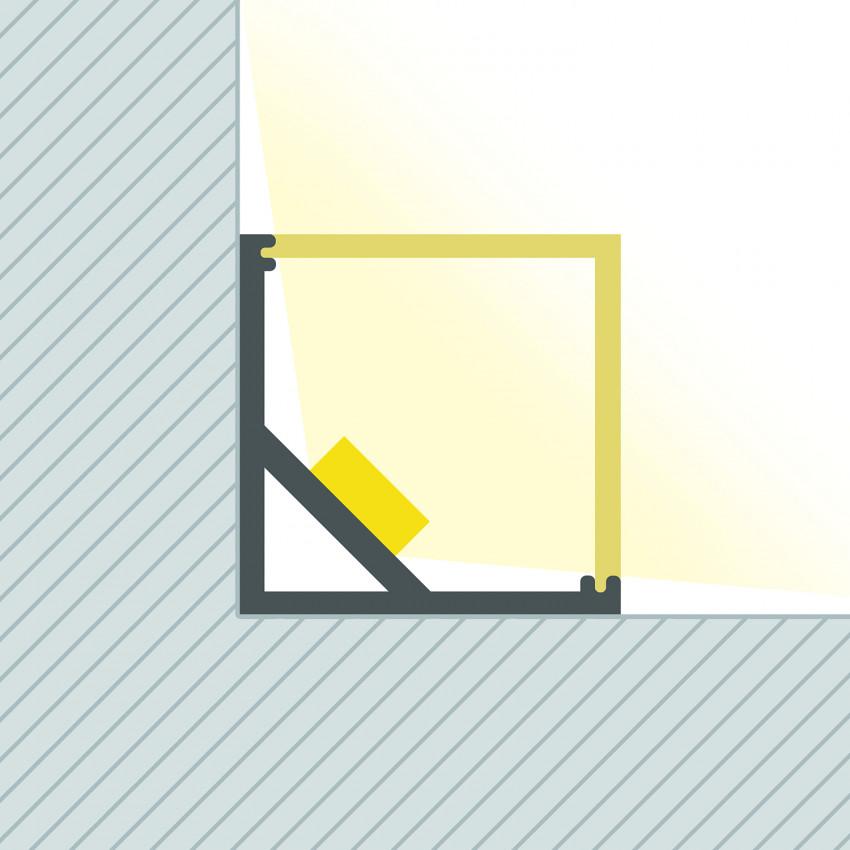 Perfíl de Alumínio para Esquinas Triangular 1m para Fita LED Até 10 mm