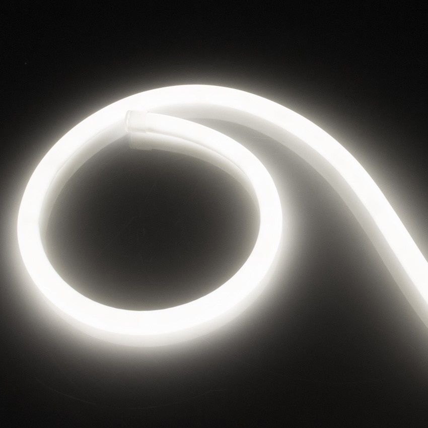 Fita Neon LED Regulável 220V AC 120 LED/m Circular 360  Branco Neutro IP67 à Medida