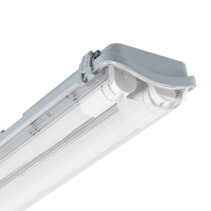 Armadura Hermética Slim para dois Tubos LED 1500mm PC/PC Conexão Uni-Lateral