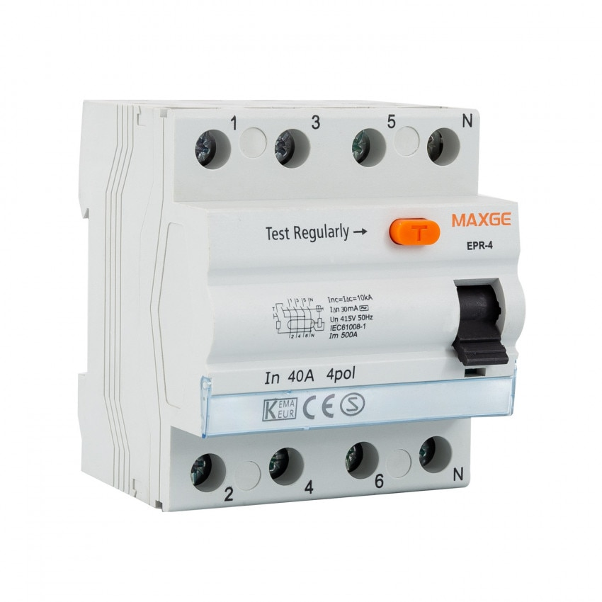 Interruptor Diferencial Residencial MAXGE 4P-30mA-Clase AC-10kA