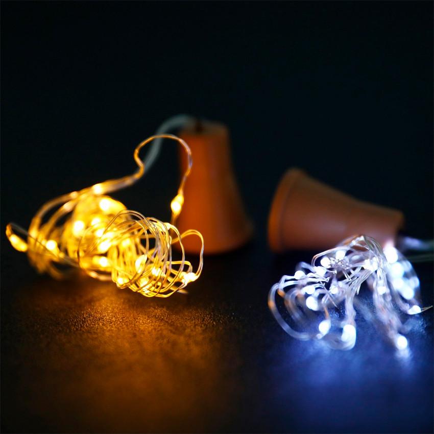 Guirlanda de Arame LED Solar para Garrafa