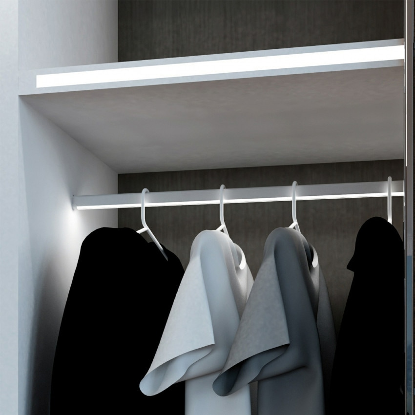 Perfil de Aluminio Barra Pendurar Roupa para Armario 1m para Fitas LED