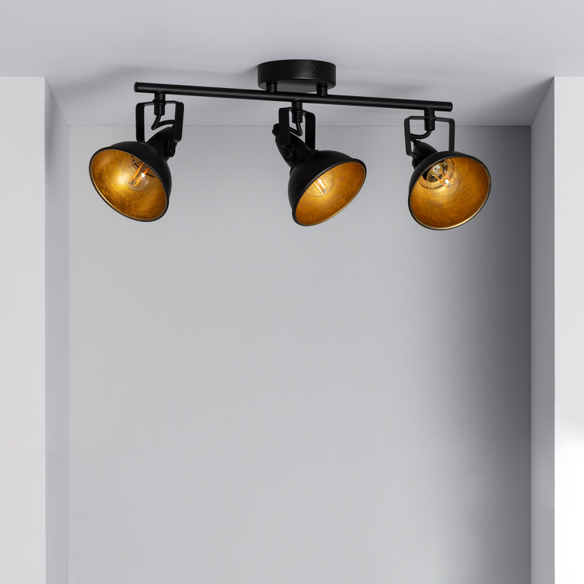 Lámpara de Techo Orientable Emer 3 Focos Negro