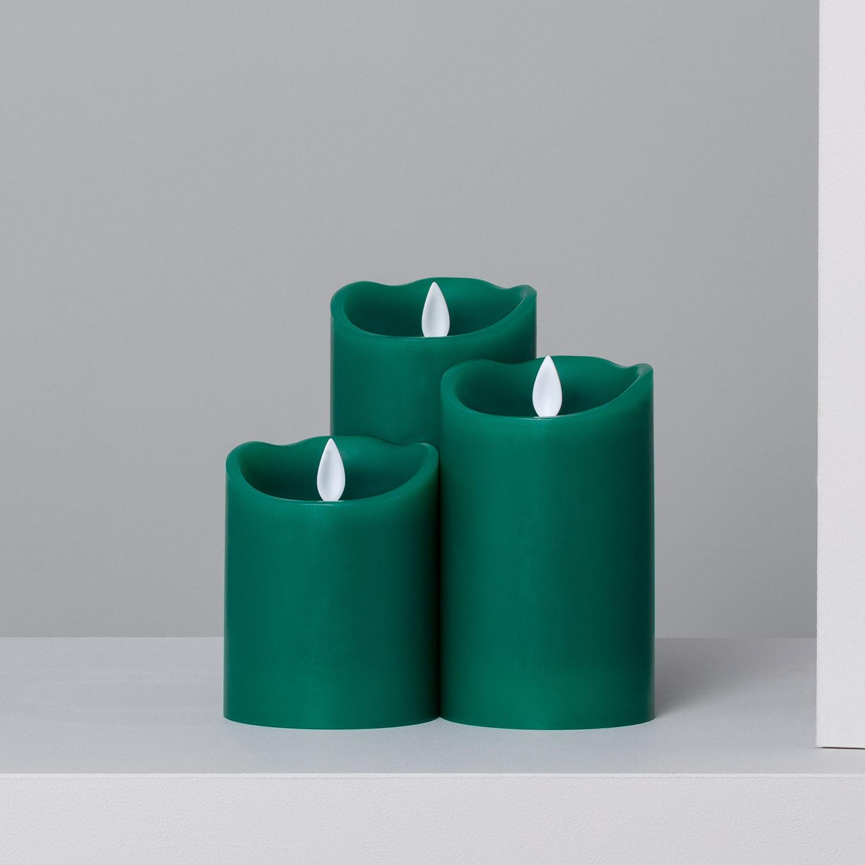 Pack de 3 Velas LED Color Verde Special Flame