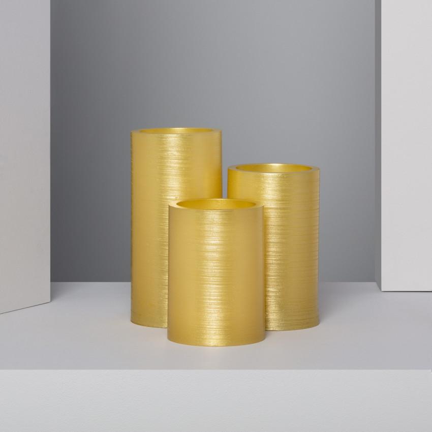 Conjunto de 3 Velas LED Cera Natural Special Flame Dorado