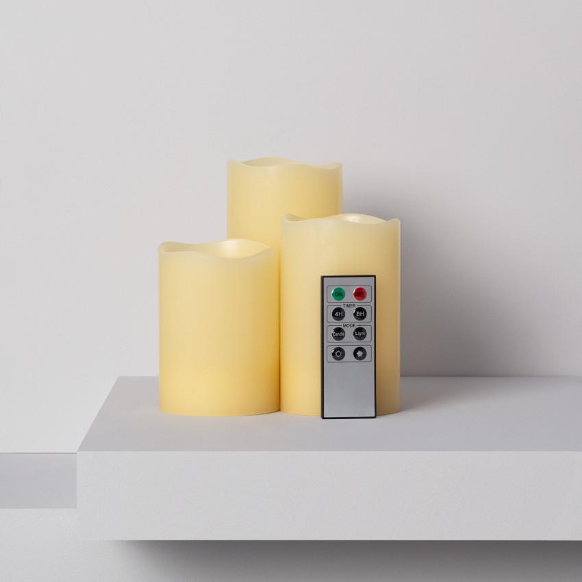 Pack de 3 Velas LED Cera Natural com Controle Remoto
