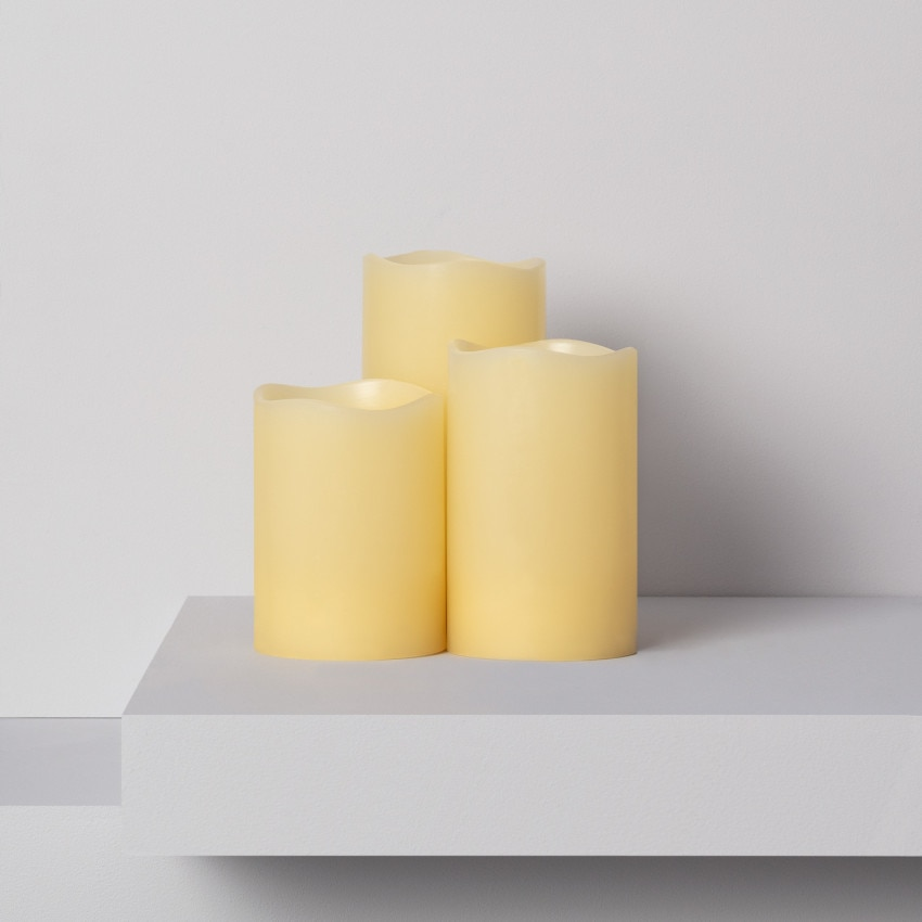 Pack de 3 Velas LED Cera Natural