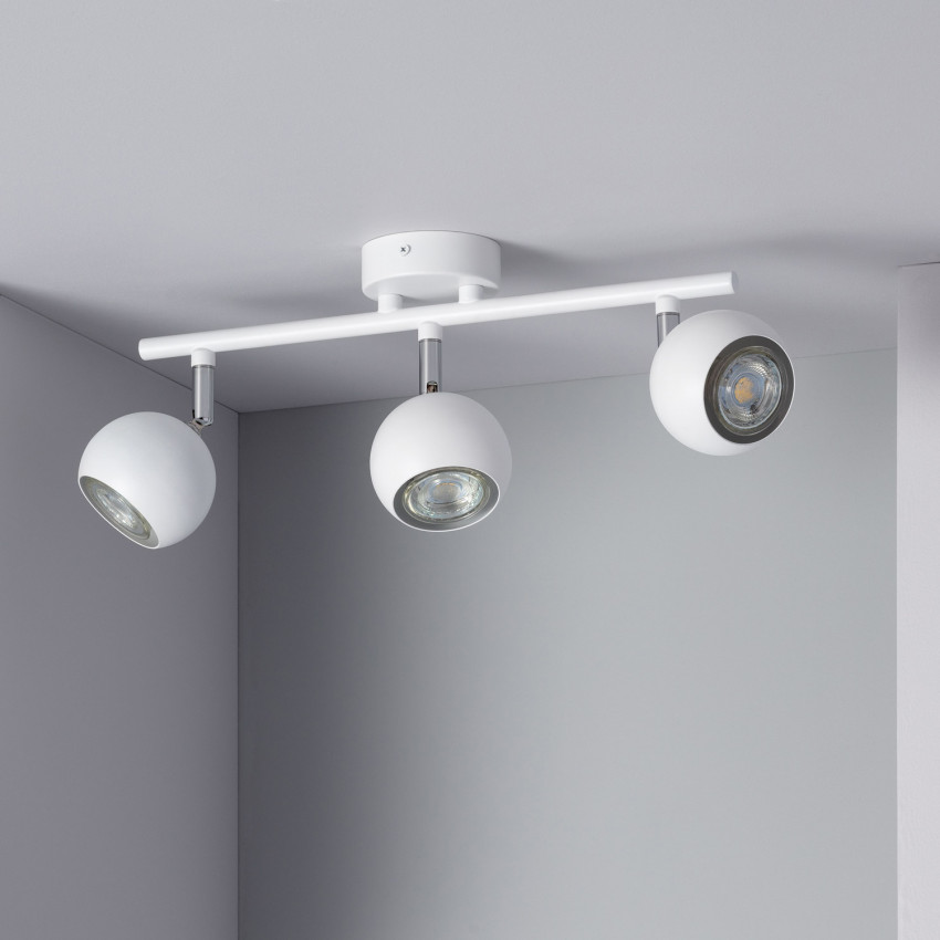 Lámpara de Techo Orientable Ates 3 Focos Blanco