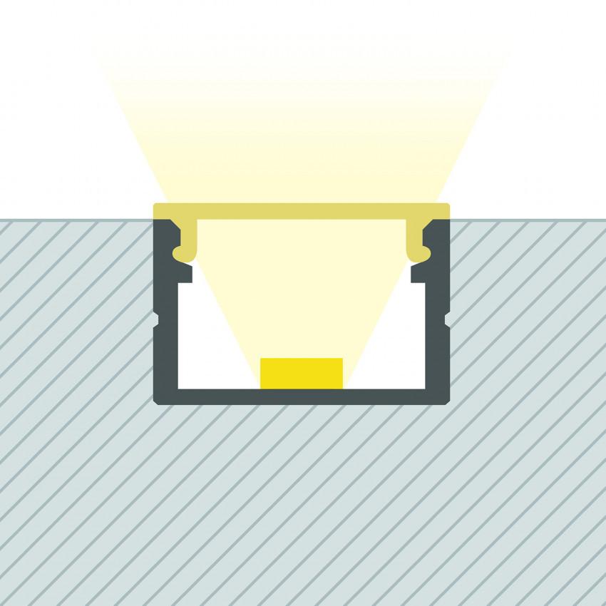 Perfil de Aluminio de Superficie con Tapa Continua para Tira LED hasta 15 mm