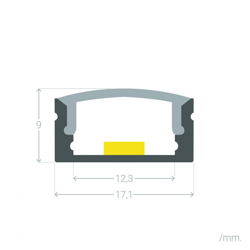 Perfil de Aluminio Superficie con Tapa Continua para Tiras LED hasta 12 mm