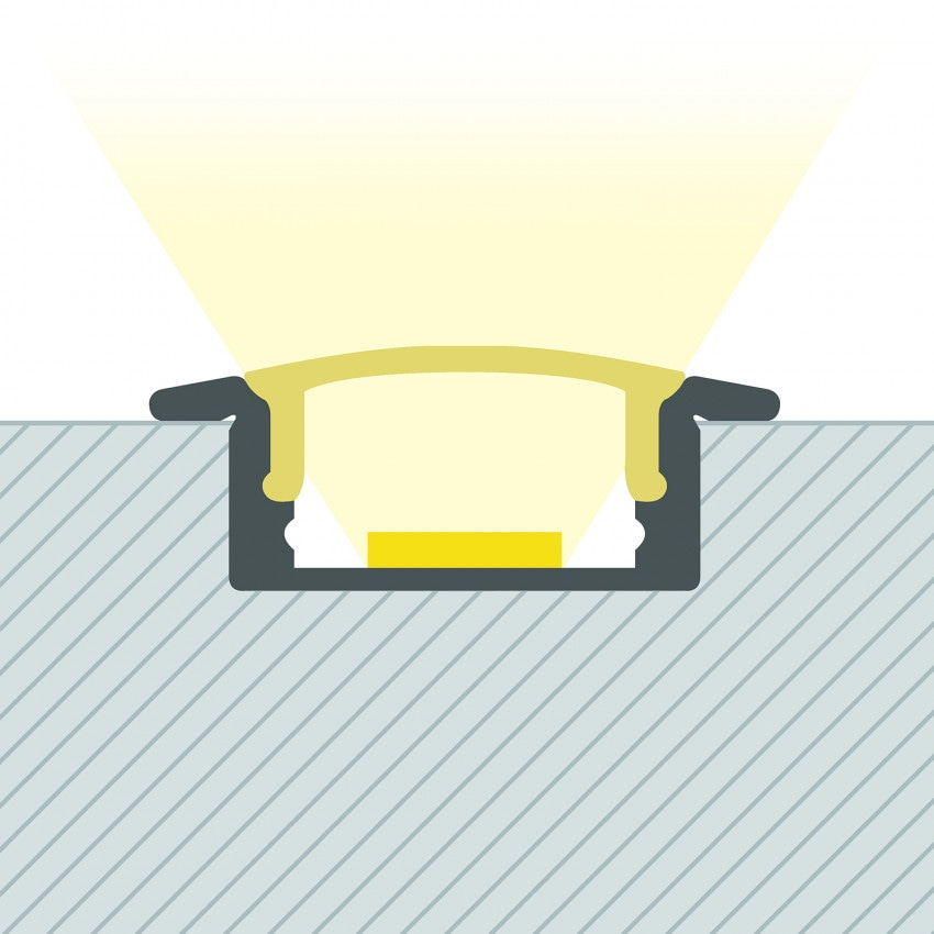 Perfil de Alumínio Encastrável  com Cobertura Contínua para Fitas de LED Até 12mm