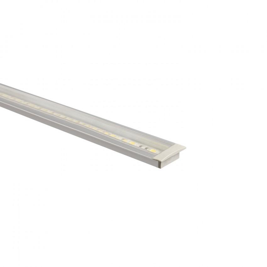 Perfil de alumínio encastrado com cobertura contínua para fitas de LED à medida